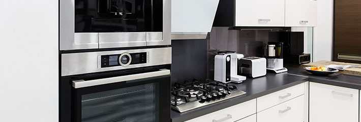 A consumer kitchen full of small appliances