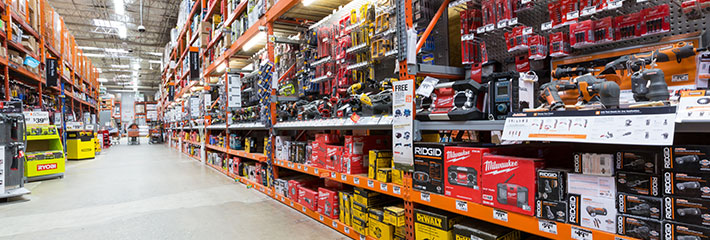 DIY store isle stocked with tools